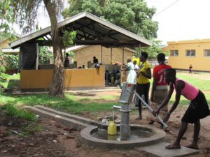 well with water outside gulu hospital